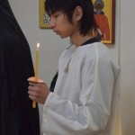 the newly illumined during Divine Liturgy on Holy  Saturday