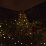 Christmas tree lights reflected like stars in the skylights of the trapeza.
