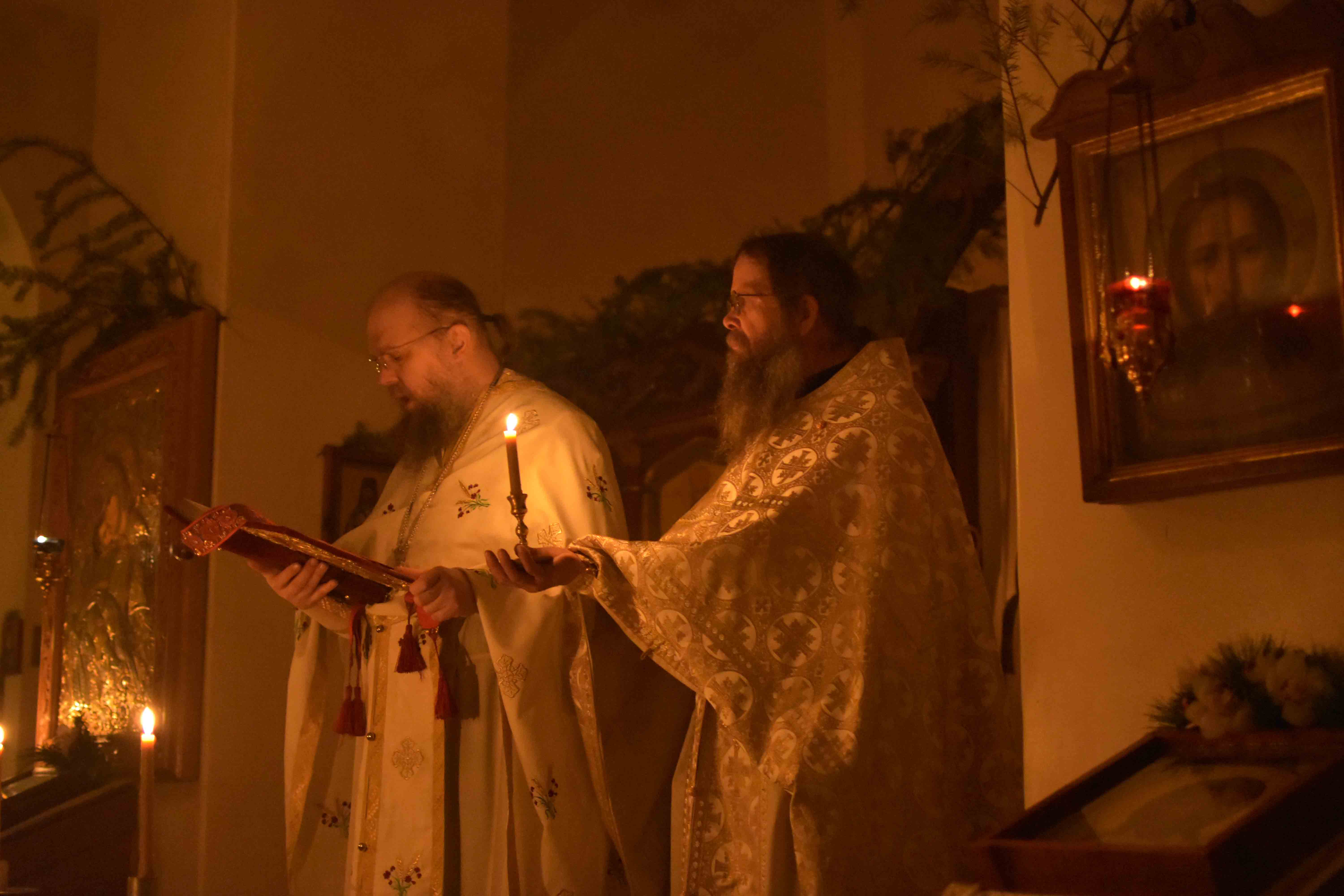 Reading the Holy Gospel during the Nativity Liturgy.